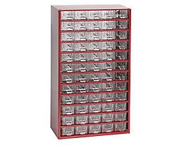Schubladenmagazin, Schubladen glasklar - HxBxT 551 x 306 x 155 mm, 60 Schubladen - Gehäuse karminrot