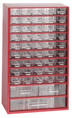 Schubladenmagazin, Schubladen glasklar - HxBxT 551 x 306 x 155 mm, 48 Schubladen