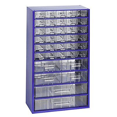 Schubladenmagazin, Schubladen glasklar - HxBxT 551 x 306 x 155 mm, 36 Schubladen