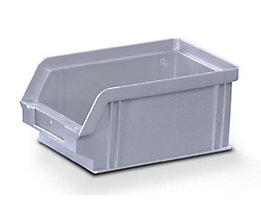 Sichtlagerkasten aus Polystyrol - Außen- / Innenlänge 160 / 140 mm - BxH 102 x 75 mm, VE 32 Stk, grau
