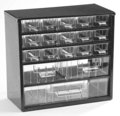 Schubladenmagazin, Schubladen glasklar - HxBxT 282 x 306 x 155 mm, Gehäuse-Traglast 30 kg