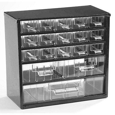 Bloc-tiroir à tiroirs translucides - h x l x p 282 x 306 x 155 mm, charge max. bloc 30 kg