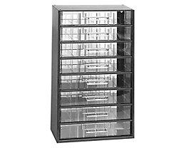 Schubladenmagazin, Schubladen glasklar - HxBxT 551 x 306 x 155 mm, Gehäuse-Traglast 60 kg, 8 Schubladen - ab 1 Stk