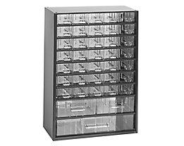 Schubladenmagazin, Schubladen glasklar - HxBxT 460 x 306 x 155 mm, Gehäuse-Traglast 50 kg - 38 Schubladen