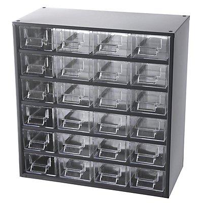 Schubladenmagazin, Schubladen glasklar - HxBxT 387 x 366 x 173 mm, Gehäuse-Traglast 40 kg