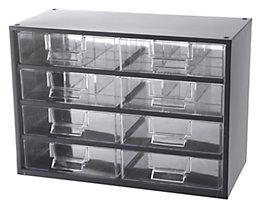 Schubladenmagazin, Schubladen glasklar - HxBxT 261 x 366 x 173 mm, Gehäuse-Traglast 40 kg