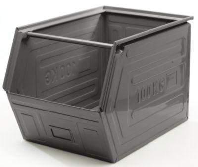 QUIPO Sichtlagerkasten, Stahlblech, stapelbar - Inhalt 82 l