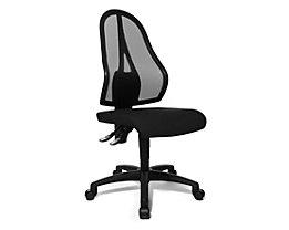 Topstar Bürodrehstuhl, Permanentkontakt-Mechanik und Flachsitz - ohne Armlehnen, Netzrückenlehne schwarz - Sitzbezug schwarz