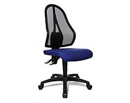 Topstar Bürodrehstuhl, Permanentkontakt-Mechanik und Flachsitz - ohne Armlehnen, Netzrückenlehne schwarz - Sitzbezug royalblau