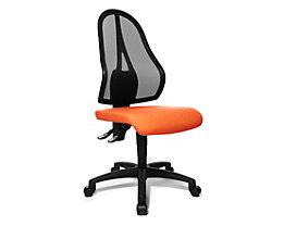 Topstar Bürodrehstuhl, Permanentkontakt-Mechanik und Flachsitz - ohne Armlehnen, Netzrückenlehne schwarz - Sitzbezug orange