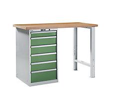 Lista Werkbank komplett, Buche-Multiplex-Arbeitsplatte - Höhe 1040 mm, Unterschrank, 6 Schubladen, Tischbreite 1500 mm