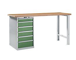 Lista Werkbank komplett, Buche-Multiplex-Arbeitsplatte - Höhe 1040 mm, Unterschrank, 6 Schubladen, Tischbreite 2000 mm