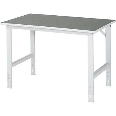 RAU Arbeitstisch, höhenverstellbar - 760 – 1080 mm, Linoleum-Platte