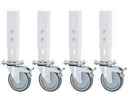 Fahrsatz - für Untergestell 60 x 30 mm - 4 Lenkrollen mit Feststeller, nachrüstbar