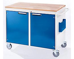 RAU Werkbank, fahrbar - 2 Türen, Holzarbeitsfläche - lichtgrau / enzianblau