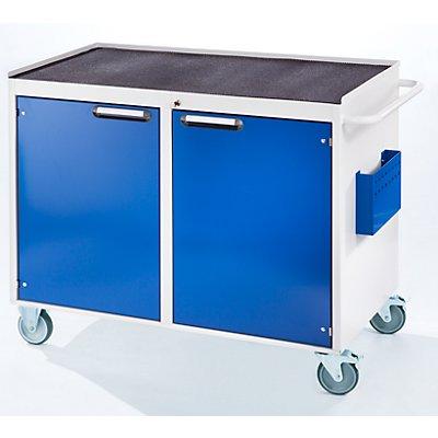 RAU Werkbank, fahrbar - 2 Türen, Metallablage mit Gummimatte, lichtgrau / enzianblau