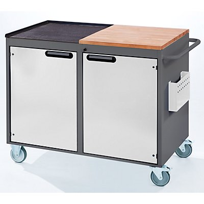 RAU Werkbank, fahrbar - 2 Türen, Arbeitsfläche Holz / Metall, lichtgrau / enzianblau