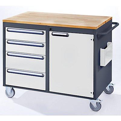 RAU Werkbank, fahrbar - 4 Schubladen, 1 Tür, Holzarbeitsfläche, lichtgrau / enzianblau