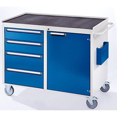 RAU Werkbank, fahrbar - 4 Schubladen, 1 Tür, Metallablage mit Gummimatte, lichtgrau / enzianblau