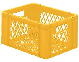 Euro-Format-Stapelbehälter, Wände und Boden durchbrochen - LxBxH 400 x 300 x 210 mm - gelb, VE 5 Stk