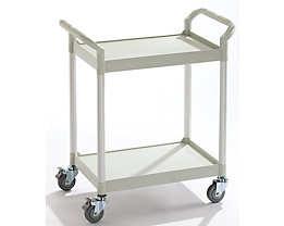 Allzweckwagen - 2 Etagen, Tragfähigkeit 200 kg - LxBxH 850 x 480 x 950 mm, lichtgrau