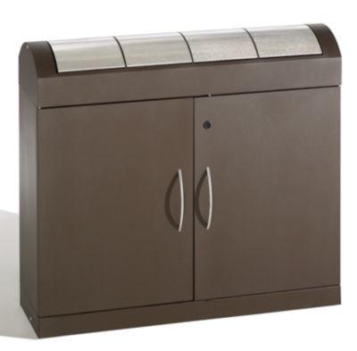 Wertstoffsammler-Sortiersystem - Korpus graubraun, Edelstahl-Klappen