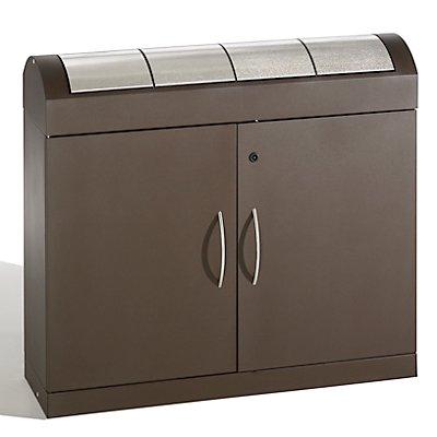 Collecteurs modulaires de tri des déchets - corps brun gris, trappes en inox