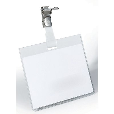 Durable Namensschilder mit Clip-Befestigung - HxB 60 x 90 mm, Tasche geschlossen - VE 50 Stk