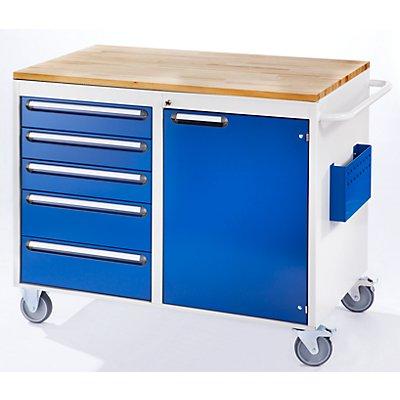 RAU Werkbank, fahrbar - 5 Schubladen, 1 Tür, Holzarbeitsfläche, lichtgrau / enzianblau