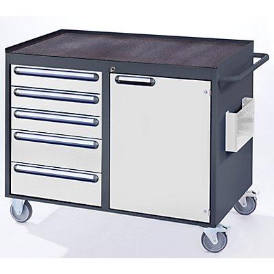 RAU Werkbank, fahrbar - 5 Schubladen, 1 Tür, Metallablage mit Gummimatte, lichtgrau / enzianblau