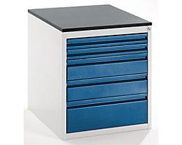 Werkzeugschrank, Tiefe 650 mm - Höhe 640 mm, Schubladen 2 x 60, 2 x 120, 1 x 180 mm - lichtgrau / enzianblau, Breite 580 mm