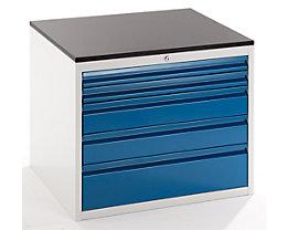 Werkzeugschrank, Tiefe 650 mm - Höhe 640 mm, Schubladen 2 x 60, 2 x 120, 1 x 180 mm - lichtgrau / enzianblau, Breite 770 mm