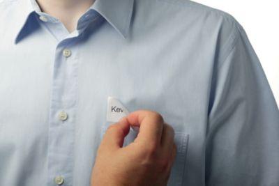 Durable Namensschilder, selbstklebend - Acetatseide, weiß