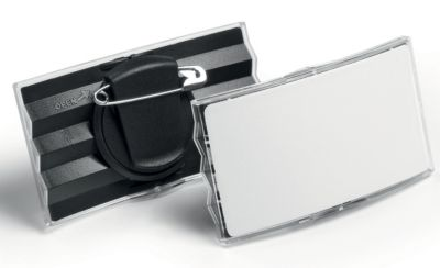 Durable Namensschild konvex, Acryl - Kunststoffrücken, mit Kombiklemme - VE 25 Stk