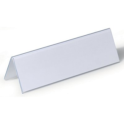 Durable Badge de table en film plastique dur - en forme de toit, h x l 61/122 x 210 mm - lot de 50
