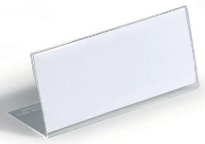 Durable Tischnamensschild aus Acryl - L-Form, HxB 61 x 150 mm - VE 30 Stk