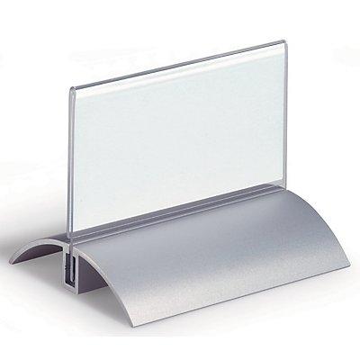 Durable Badge de table acrylique à pied en aluminium - h x l 52 x 100 mm - lot de 12