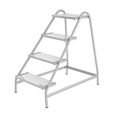 Günzburger Steigtechnik Arbeitspodest - Stahlrundrohr, Stufen aus Leichtmetallprofilen