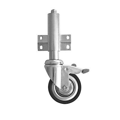 Train de roulement - 4 roulettes avec freins - pour escabeau d'atelier
