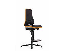 bimos Arbeitsdrehstuhl mit Alugestell - mit Gleitern und Aufstieghilfe - Stoff, Flexband orange