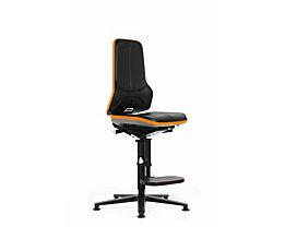bimos Arbeitsdrehstuhl mit Alugestell - mit Gleitern und Aufstieghilfe - PU-Schaum, Flexband orange