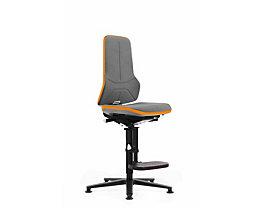 bimos Arbeitsdrehstuhl mit Alugestell - mit Gleitern und Aufstieghilfe - Supertec, Flexband orange