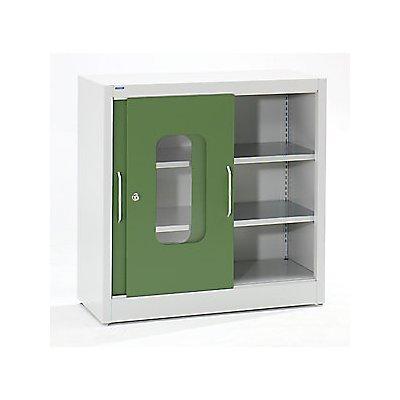 Mauser Sichtfenster-Schiebetürschrank - mit 2 Fachböden, HxB 1000 x 1000 mm