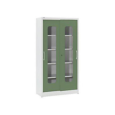 Mauser Sichtfenster-Schiebetürschrank - mit 4 Fachböden, HxB 1950 x 1000 mm