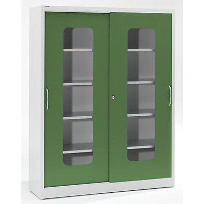 Mauser Sichtfenster-Schiebetürschrank - mit 2 x 4 Fachböden, HxB 1950 x 1500 mm