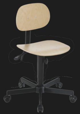 Siège d'atelier à assise en bois - avec roulettes - hauteur réglable... par LeGuide.com Publicité