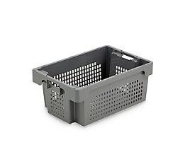 Drehstapelbehälter aus HDPE - Inhalt 40 l - Wände und Boden durchbrochen, grau