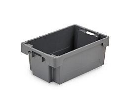 Drehstapelbehälter aus HDPE - Inhalt 40 l - Wände und Boden geschlossen, grau