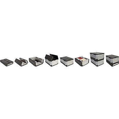 OVERATH Flip-Box® aus Polypropylen, VE 2 Stk - mit Deckel - Außen-LxBxH 600 x 400 x 250 mm