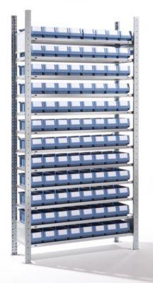 EUROKRAFT Steckregal mit Regalkästen - 96 Kästen, 12 Fachböden, Tiefe 336 mm